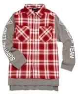 Diesel Boy's Carlock Cotton Plaid Sweatshirt