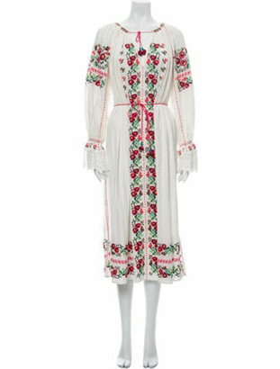 Ulla Johnson Printed Midi Length Dress White