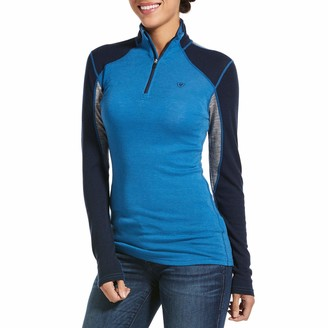 Ariat Cadence Wool Womens 1/4 Zip Top - Blue Dawn/Heather Grey/Navy: Extra Large