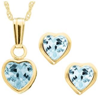 Mignonette 14k Gold Birthstone Necklace & Stud Earrings