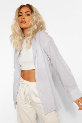 boohoo Cotton Mix Stripe Oversized Shirt