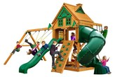 Gorilla Playsets Mountaineer Treehouse Swing Set with Fort Add-On & Amber