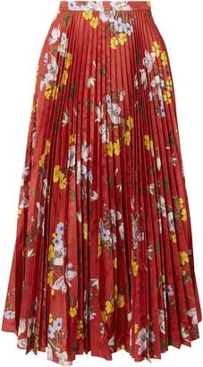 Erdem Nesrine Pleated Floral-print Satin-jacquard Midi Skirt