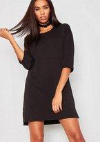 Missy Empire Alyx Black T-Shirt Pocket Front Mini Dress