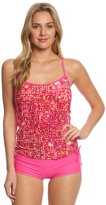Reebok Fitness Hannah Pink Side Shirred Print Tankini Top 7539344