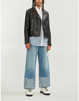 Rag & Bone Mack waxed leather biker jacket