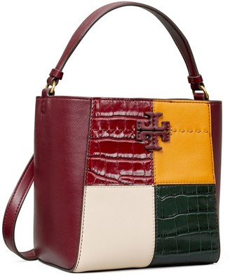 Tory Burch McGraw Embossed Color-Block Small Bucket Bag