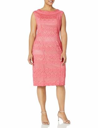 Gabby Skye Women's Plus Size Cap Sleeve Round Neck Midi Lace Sheath Dress