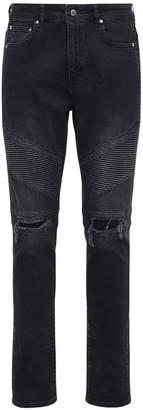 Flaneur Homme Distressed Slim Fit Denim Biker Jeans