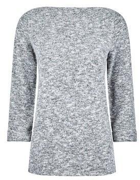 Dorothy Perkins Womens Grey Turnback Boatneck Jumper, Grey