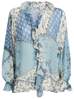 Etro Silk Ruffle-Front Printed Blouse