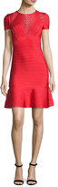 Herve Leger Short-Sleeve Chevron-Illusion Bandage Dress, Red