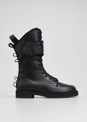 Fendi Rockoko FF Lace-Up Biker Boots