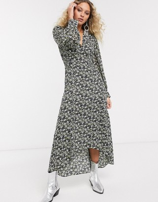 Topshop IDOL v-neck midi dress in green floral