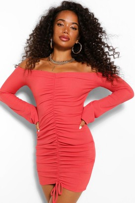 boohoo Petite Off Shoulder Ruched Front Midi Dress