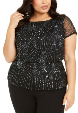 Adrianna Papell Plus Size Embellished Mesh Top