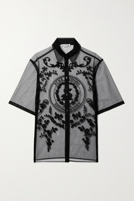 Acne Studios Embroidered Tulle Shirt - Black