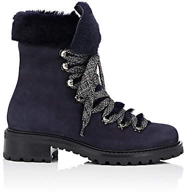 Barneys New York Women's Nubuck & Shearling Lace-Up Ankle Boots - Navy