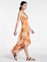 Halston Printed Crinkle Chiffon Hi Lo Dress