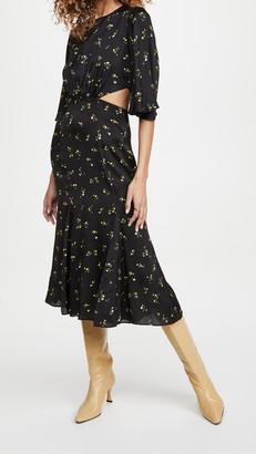 Les Rêveries Petal Sleeve Cutout Tea Dress