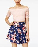 B. Darlin Juniors' 2-Pc. Off-The-Shoulder Fit and Flare Dress