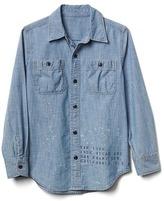 Paint splatter chambray shirt