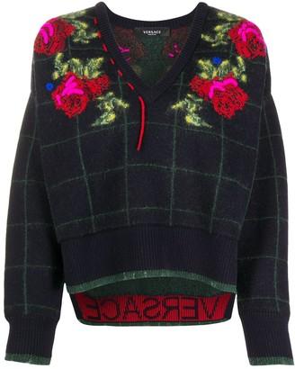 Versace intarsia knit V-neck jumper