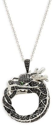 Effy 14K White Gold, Black Diamond & Tsavorite Dragon Pendant Necklace