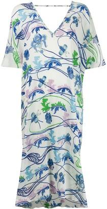 Le Sirenuse Abstract Print Midi Dress