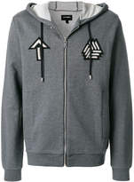 Les Hommes embroidered badge zip hoodie