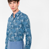 Paul Smith Men's Slim-Fit Blue 'Monkey' Print Cotton Shirt With 'Artist Stripe' Cuff Lining