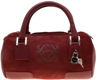 Loewe Amazona Red Suede Handbags