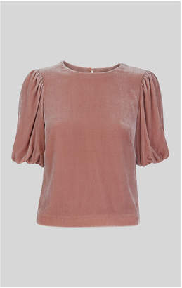 Whistles Velvet Silk Mix Top