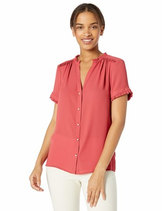 Karl Lagerfeld Paris Women's Button Front Top with Ruffle Detail
