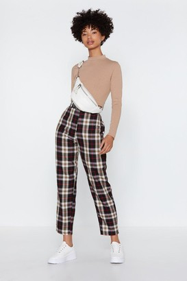 Nasty Gal Womens Tartan Up Tapered Trousers - Black - 6