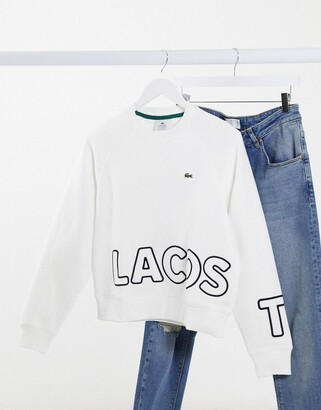 Lacoste side banded sweat in white
