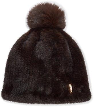 Gorski Knit Mink Fur Beanie Hat w/ Fox Fur Pompom