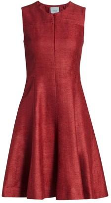 Akris Punto Ribbed Silk Fit-&-Flare Dress