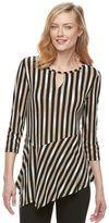 Dana Buchman Women's Textured Stripe Asymmetrical Top