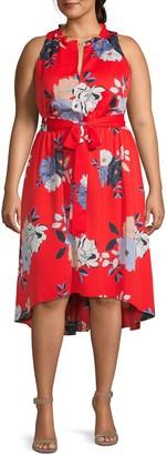 Rachel Roy Plus Floral-Print High-Low Dress