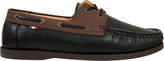 Yours Clothing D555 Black Lace Up Boat Shoe With Brown Trim
