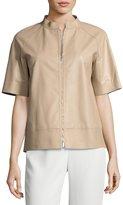 Lafayette 148 New York Ethan Short-Sleeve Tissue-Weight Lamb Leather Jacket, Medium Beige