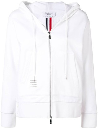 Thom Browne Center-back Stripe Zip-up Hoodie White