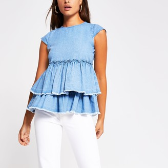 River Island Womens Blue short sleeve denim peplum ruffle top