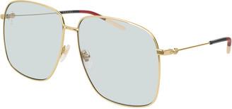 Gucci Square Metal Sunglasses w/ Web Ear Tips