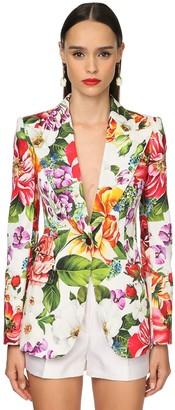 Dolce & Gabbana Flower Printed Cotton Drill Jacket