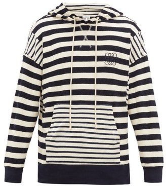 Loewe Anagram Striped Cotton-knit Hooded Sweater - Mens - Navy White