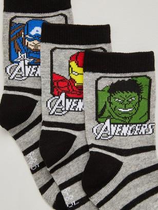 Marvel Avengers Boys 3 Pack Socks - Grey/Black