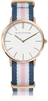 Sean Statham Rose Goldtone Stainless Steel Unisex Quartz Watch w/Blue and Pink Striped Canvas Band