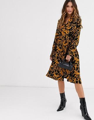 Y.A.S bold swirl print midi dress with tie waist-Black